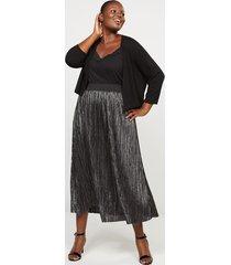 lane bryant women's shimmer pleated midi skirt 18/20 gunmetal