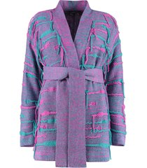 canessa belted cashmere blend cardigan