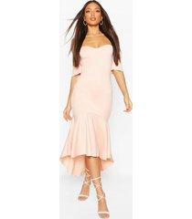 tall off the shoulder frill maxi dress, blush