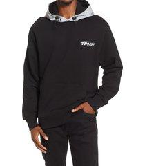 men's topman contrast cotton hoodie, size x-large - black