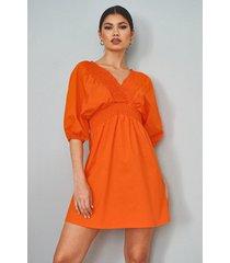 cotton shirred wrap skater dress, orange