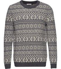 valley color jacquard knit - gots stickad tröja m. rund krage grå knowledge cotton apparel