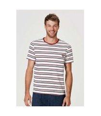 camiseta hering listrada slim com patch nintendo masculina