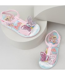 sandália infantil grendene barbie com borboleta rosa claro