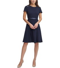 karl lagerfeld scuba crepe belted fit & flare dress