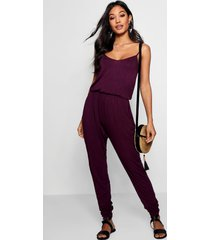 basic cami jumpsuit, berry