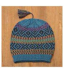 100% alpaca hat, 'inca festival in teal' (peru)