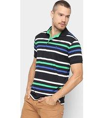 camisa polo aleatory estampa listrada masculina