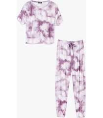womens count on tee tie dye joggers lounge set - pink