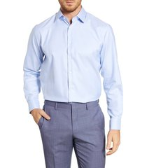 men's big & tall nordstrom men's shop traditional fit non-iron solid stretch dress shirt, size 18.5 - 36/37 - blue