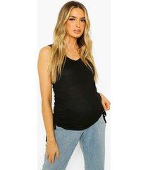 zwangerschap geribbeld geplooid hemdje, black