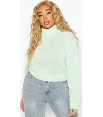 plus roll neck crop sweater, pale green