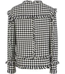 msgm houndstooth frayed jacket