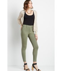 maurices womens olive utility pocket bengaline skinny ankle pants green