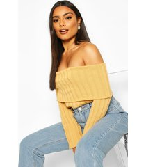 bardot rib knit sweater, camel