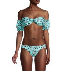 bcbgeneration women's off-the-shoulder bandeau bikini top - mint - size l