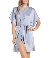 women's natori satin elements robe, size medium - blue