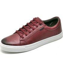 sapatenis sapato casual  couro bordo ref: at2102-lt033 - vinho - masculino - dafiti