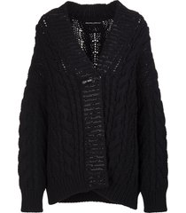 ermanno scervino black wool blend cardigan with crystals and bijoux brooch