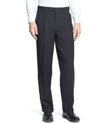 men's berle self sizer waist pleated classic fit dress pants, size 33 x 30 - black