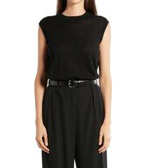 women's the row balham spring cashmere sleeveless sweater, size medium - black