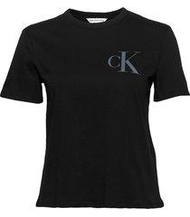 back institutional logo slim tee t-shirts & tops short-sleeved svart calvin klein jeans