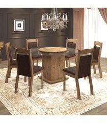 mesa de jantar 6 lugares samba oitavada dover/chocolate - mobilarte