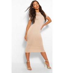 basic short sleeve midaxi dress, stone