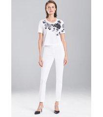 bottomweight cotton pants, women's, white, size 4, josie natori