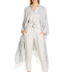 women's brunello cucinelli metallic linen blend open front poncho