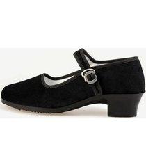 scarpe nere mary jane con tacchi quadrati e fibbie