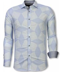 overhemd lange mouw tony backer blouse line pattern licht