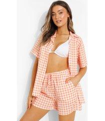 gingham overhemd met korte mouwen en shorts set, peach
