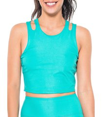 activology women's shine bright cropped top - jade - size s