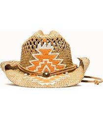 sparti cappello western geometria messicana bianco rosa