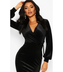 fluwelen bodycon midi jurk met lange mouwen, zwart