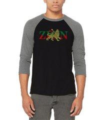 men's zion - one love raglan baseball word art t-shirt