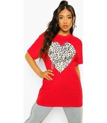 petite luipaardprint t-shirt met tekst en hartje, red
