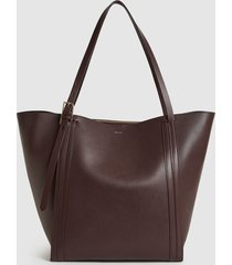 reiss allegra - leather tote bag in pomegranate, womens