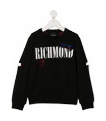 john richmond junior moletom com estampa de logo - preto