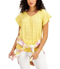 style & co solid flutter-sleeve v-neck top, created for macy's
