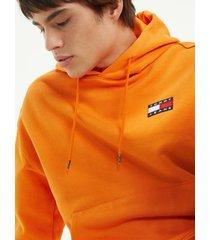 tommy hilfiger men's organic cotton badge hoodie russet orange - xxl