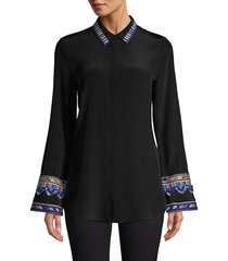 kobi halperin women's monica embroidered sleeve blouse - black - size xs