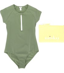 miska paris teen short sleeve swimsuit - green