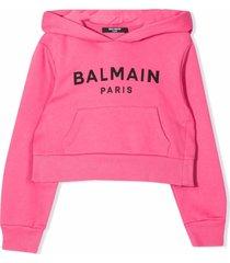 balmain pink cotton hoodie