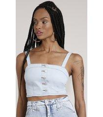 top cropped jeans feminino com botões alça média decote reto azul claro