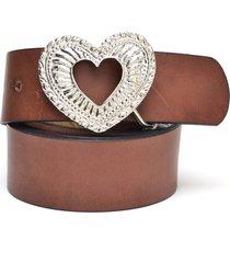 cinto de couro hendy bag caramelo fivela coração