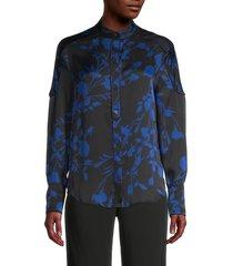 equipment women's garland floral blouse - black blue - size xs