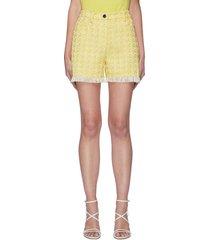 'sorno' fringe edge tweed shorts
