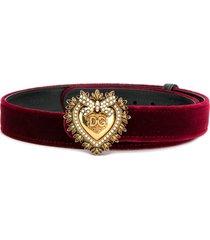 dolce & gabbana sacred heart buckle velvet belt